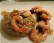 Polenta with prawns and amarenas