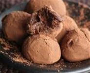 Amarena and pink pepper truffles