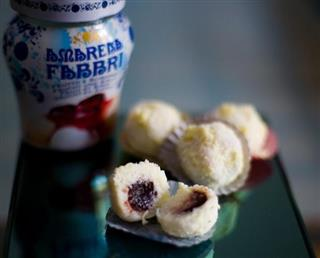Coconut treats with a Fabbri amarena center