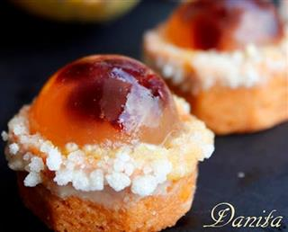 Prickly Pear Custard Tartlets with Amarena Aspic
