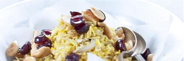 Spiced basmati rice salad with almonds and amarenas